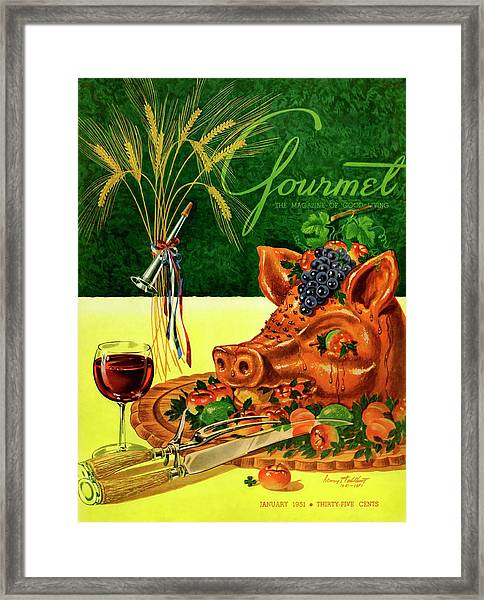 Gourmet Cover Featuring A Pig's Head On A Platter Framed Print