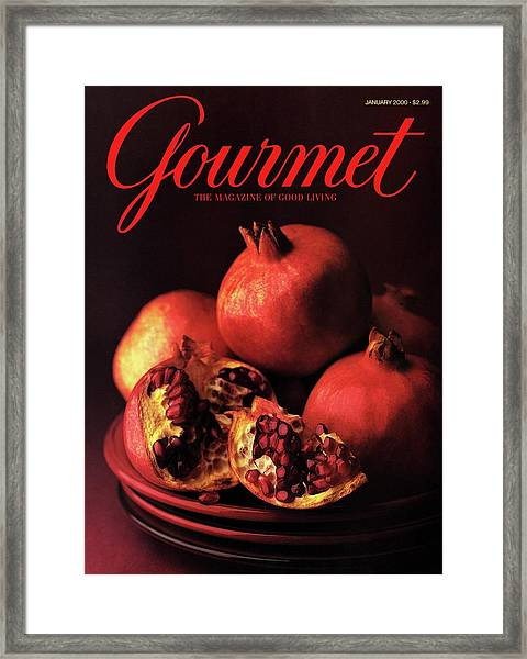 Gourmet Cover Featuring A Plate Of Pomegranates Framed Print