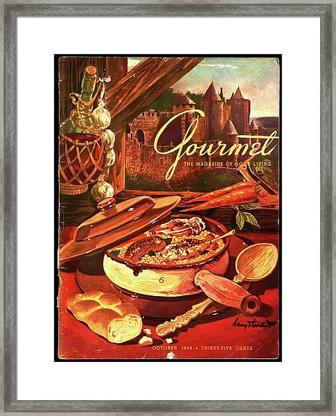 Gourmet Cover Featuring A Pot Of Stew Framed Print