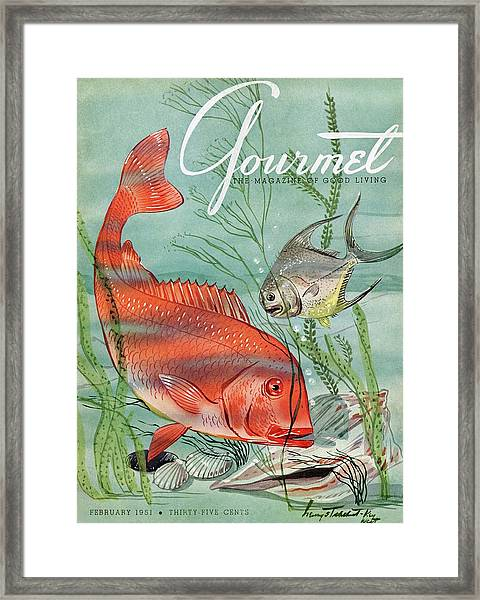 Gourmet Cover Featuring A Snapper And Pompano Framed Print