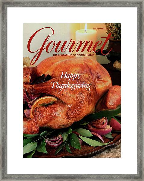 Gourmet Cover Featuring A Thanksgiving Turkey Framed Print