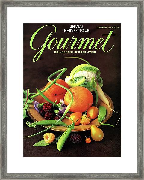 Gourmet Cover Featuring A Variety Of Fruit Framed Print