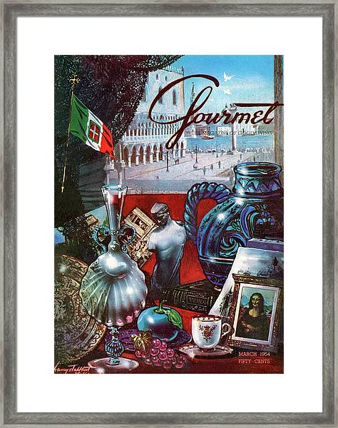 Gourmet Cover Featuring A Variety Of Italian Framed Print