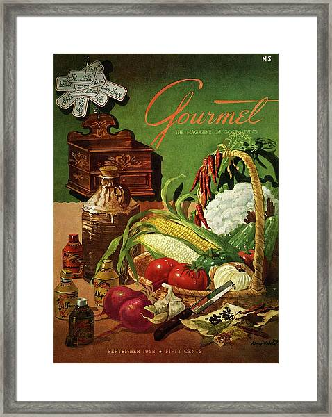 Gourmet Cover Featuring A Variety Of Vegetables Framed Print