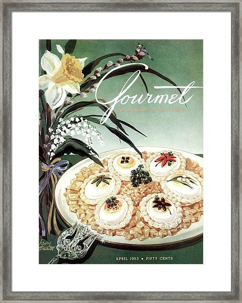 Gourmet Cover Featuring Poached Eggs On Cubed Framed Print