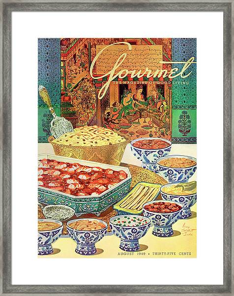 Gourmet Cover Featuring Various Indian Dishes Framed Print