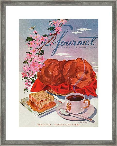 Gourmet Cover Illustration Of A Basket Of Popovers Framed Print