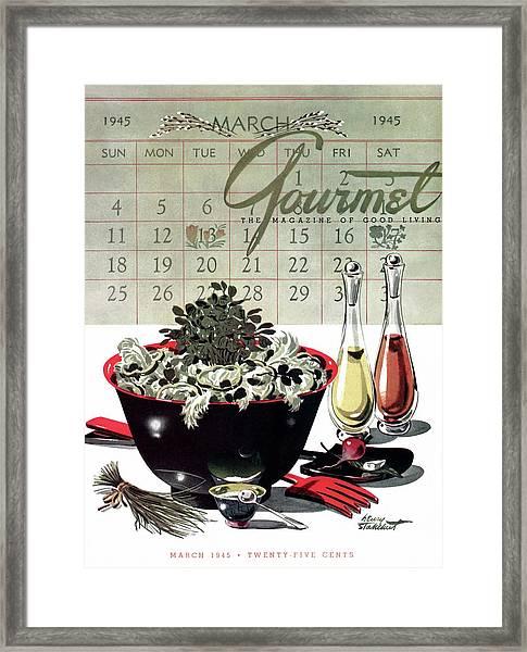 Gourmet Cover Illustration Of A Bowl Of Salad Framed Print