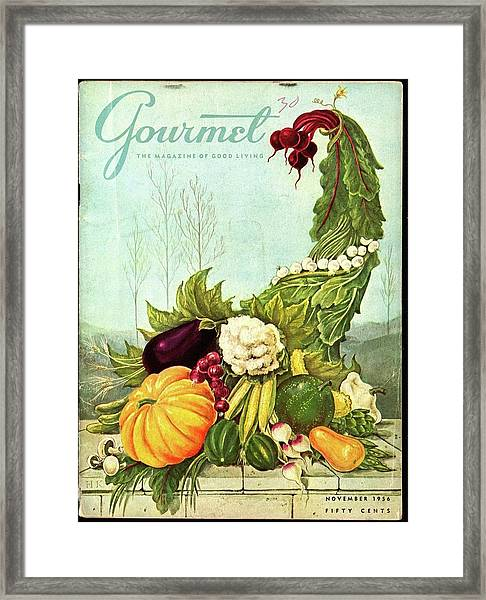 Gourmet Cover Illustration Of A Cornucopia Framed Print