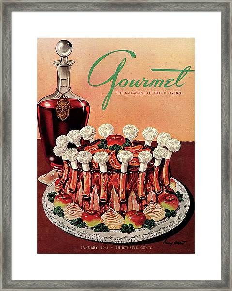 Gourmet Cover Illustration Of A Crown Roast Framed Print