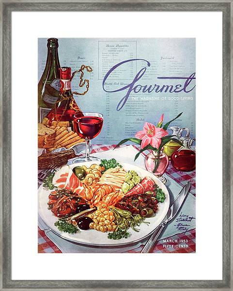 Gourmet Cover Illustration Of A Plate Of Antipasto Framed Print