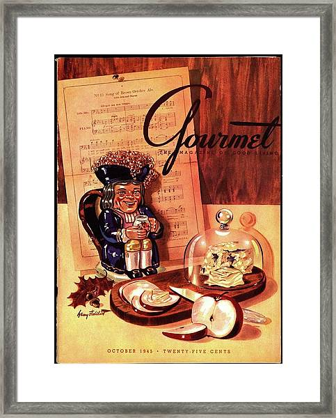 Gourmet Cover Illustration Of A Tray Of Cheese Framed Print