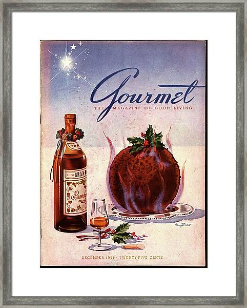 Gourmet Cover Illustration Of Flaming Chocolate Framed Print