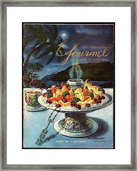 Gourmet Cover Illustration Of Fruit Dish Framed Print