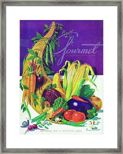 Gourmet Cover Of A Cornucopia Framed Print