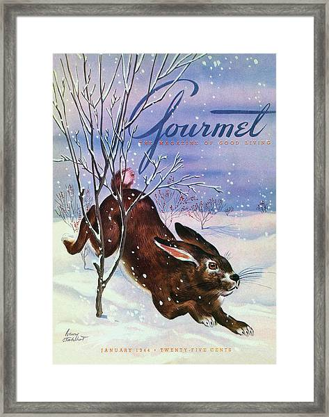 Gourmet Cover Of A Rabbit On Snow Framed Print