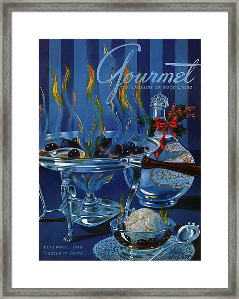 Gourmet Cover Of Cherry Flambe Framed Print by Henry Stahlhut
