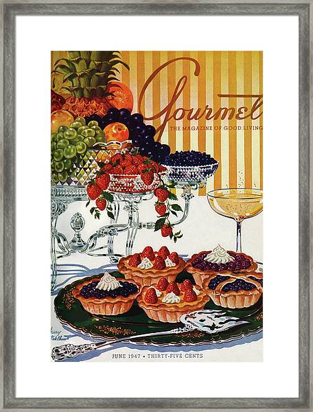 Gourmet Cover Of Fruit Tarts Framed Print