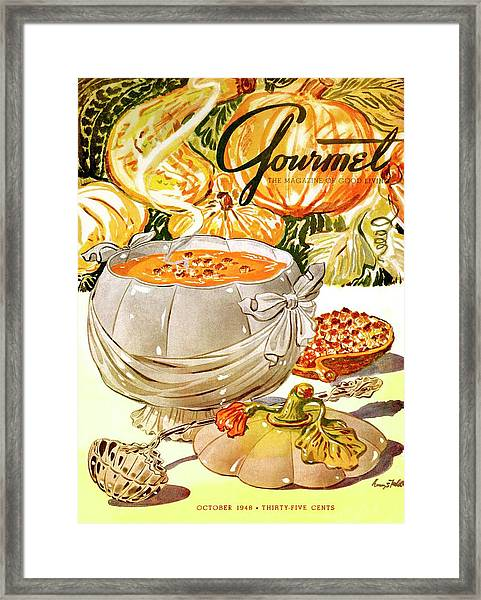 Gourmet Cover Of Pumpkin Soup Framed Print
