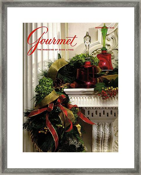 Gourmet Magazine Cover Featuring Christmas Garland Framed Print