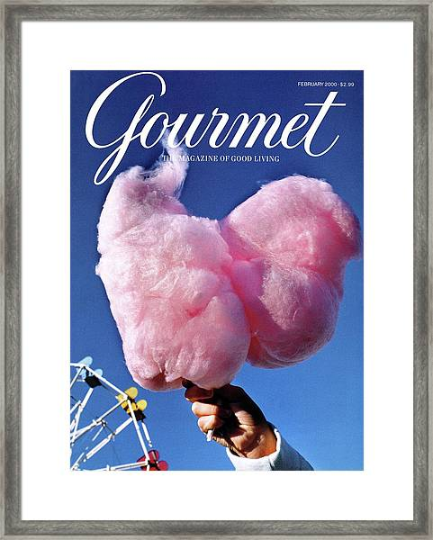 Gourmet Magazine Cover Featuring Hand Holding Framed Print
