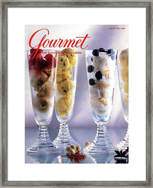 Gourmet Magazine Cover Featuring Ice Cream Framed Print