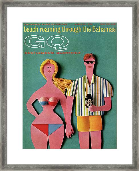 Gq Cover Featuring A Paper Cut Out Couple Framed Print