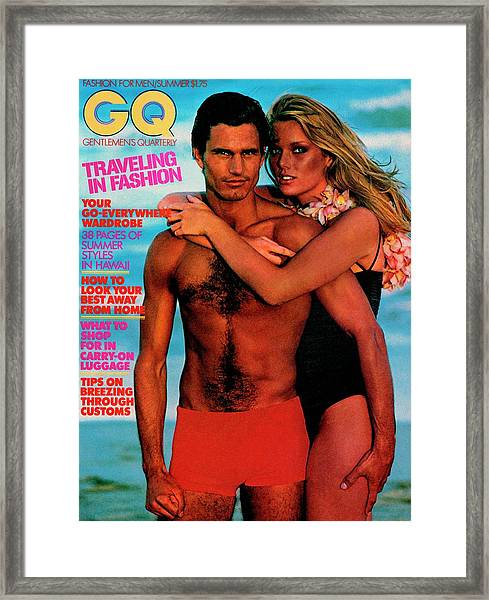 Gq Cover Featuring Patti Hansen And A Male Model Framed Print by Barry McKinley