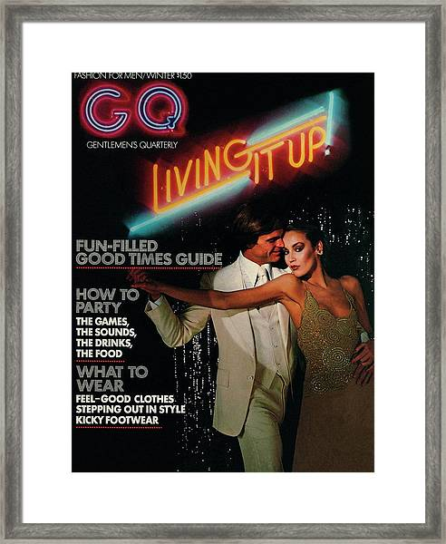 Gq Cover Of A Couple In Disco Setting Framed Print