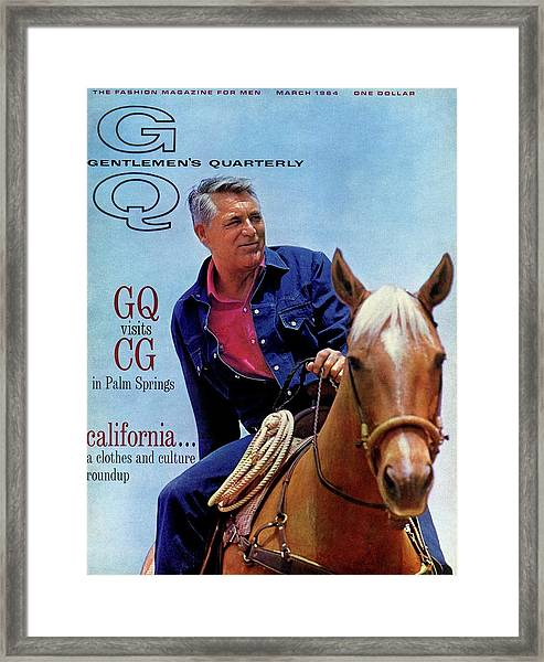 Gq Cover Of Actor Carey Grant Horseback Riding Framed Print