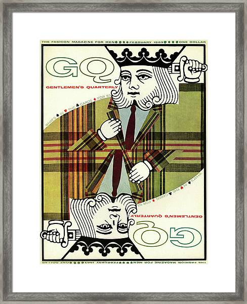 Gq Cover Of An Illustration Of King Playing Card Framed Print