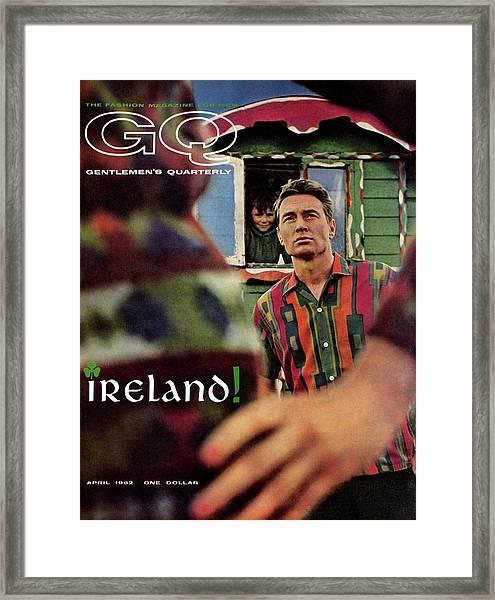 Gq Cover Of Model In Ireland Framed Print