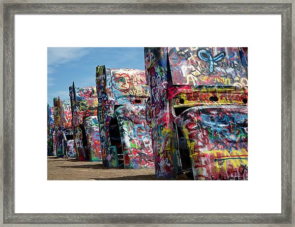 Graffiti At The Cadillac Ranch Amarillo Texas Framed Print