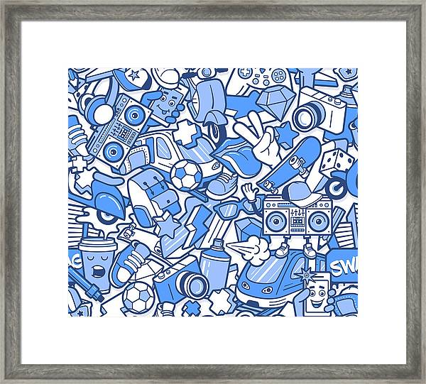 Graffiti Seamless Pattern With Boys Framed Print
