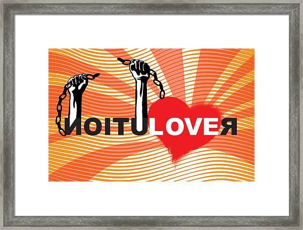Graffiti Style Illustration Slogan Love Revolution Framed Print by Sassan Filsoof