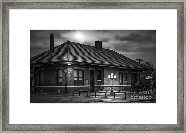 Train Depot At Night - Noir Framed Print