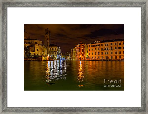 Grand Canal In Venice At Night Framed Print