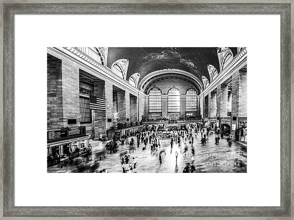 Grand Central Station -pano Bw Framed Print