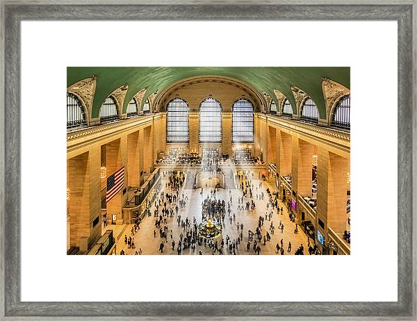 Framed Print featuring the photograph Grand Central Terminal Birds Eye View I by Susan Candelario