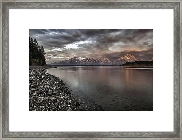 Grand Teton Mountain Range In  Grey And Pink Morning Sunlight Framed Print