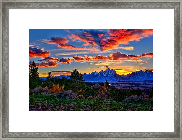Grand Teton Sunset Framed Print