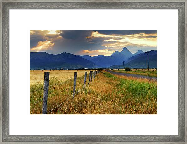 Grand Tetons At Sunrise From Driggs Framed Print by Anna Gorin