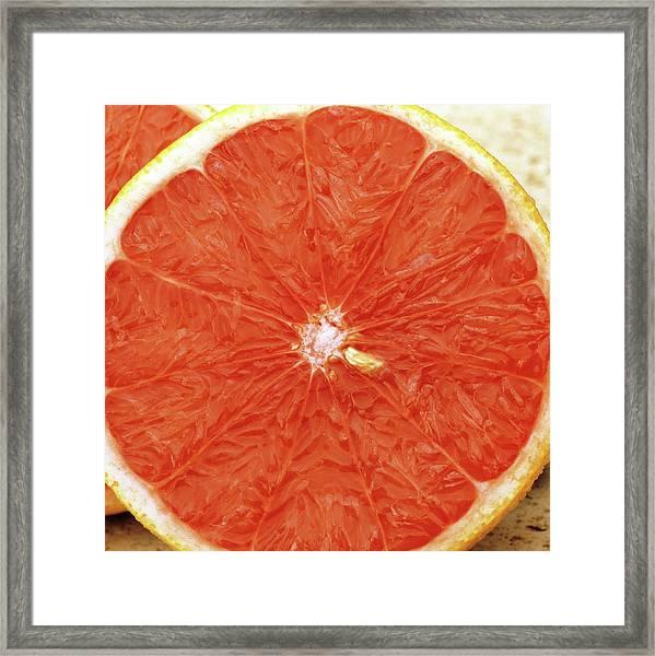 Grapefruit Sliced In Two Framed Print