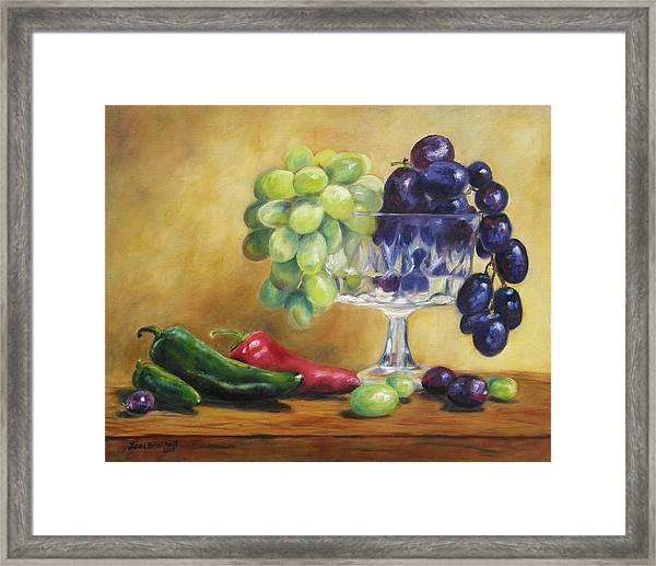 Grapes And Jalapenos Framed Print