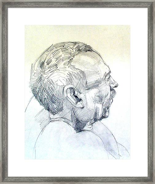 Graphite Portrait Sketch Of A Man In Profile Framed Print