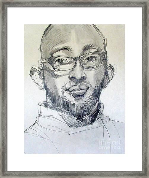 Graphite Portrait Sketch Of A Young Man With Glasses Framed Print