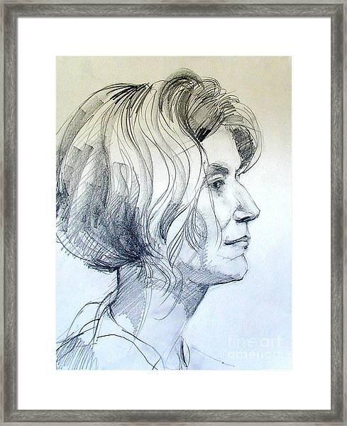 Portrait Drawing Of A Woman In Profile Framed Print