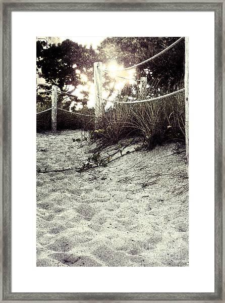 Grassy Beach Post Entrance At Sunset 2 Framed Print