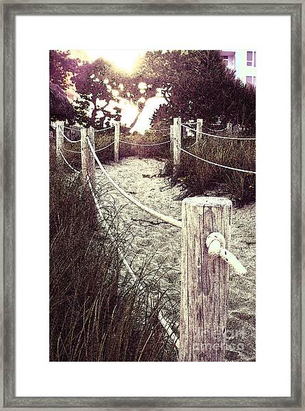 Grassy Beach Post Entrance At Sunset Framed Print