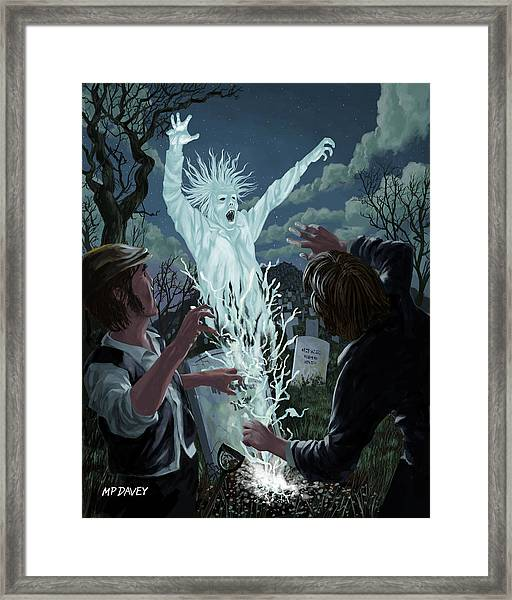 Graveyard Digger Ghost Rising From Grave Framed Print